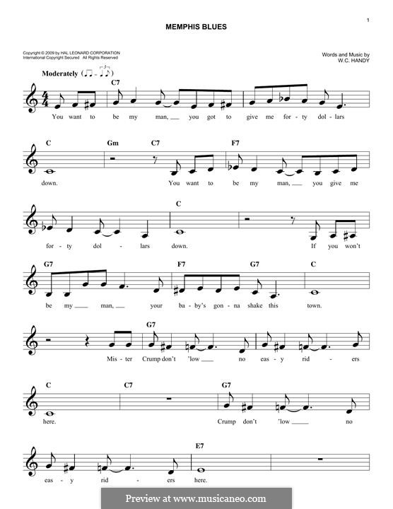 Memphis Blues: Melody line by William Christopher Handy