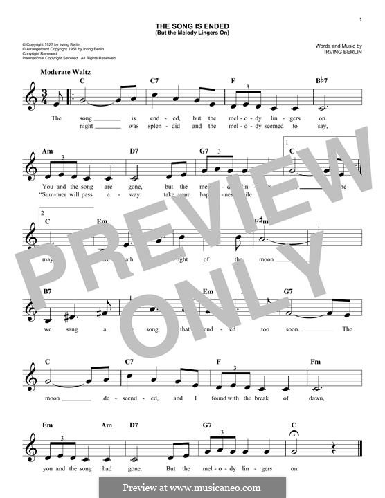 The Song Is Ended: Melody line by Irving Berlin