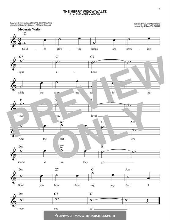 The Merry Widow Waltz: Melody line by Franz Lehár