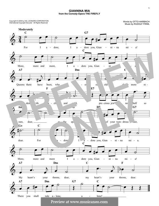 Giannina Mia: Melody line by Rudolf Friml