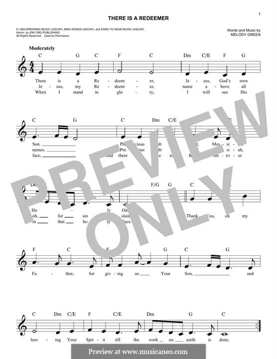 There Is a Redeemer: Melody line by Keith Green, Melody Green
