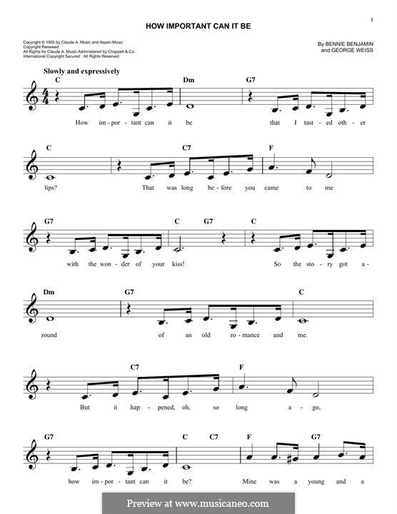 How Important Can it Be (Joni James): Melody line by Bennie Benjamin, George David Weiss