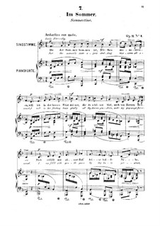 Six Songs, Op.11: No.4 In Sommer (Summertime) by Robert Franz