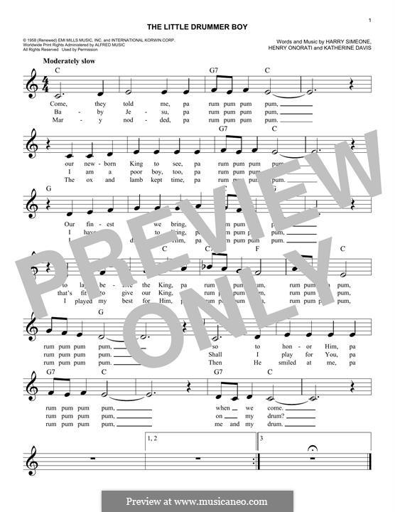 The Little Drummer Boy: Melody line by Harry Simeone, Henry Onorati, Katherine K. Davis