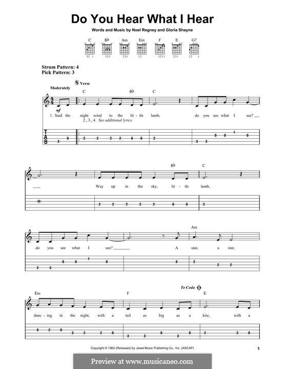 Do You Hear What I Hear: For guitar with tab by Gloria Shayne, Noël Regney