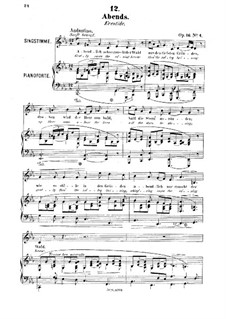 Six Songs, Op.16: No.4 Abends (Eventide) by Robert Franz