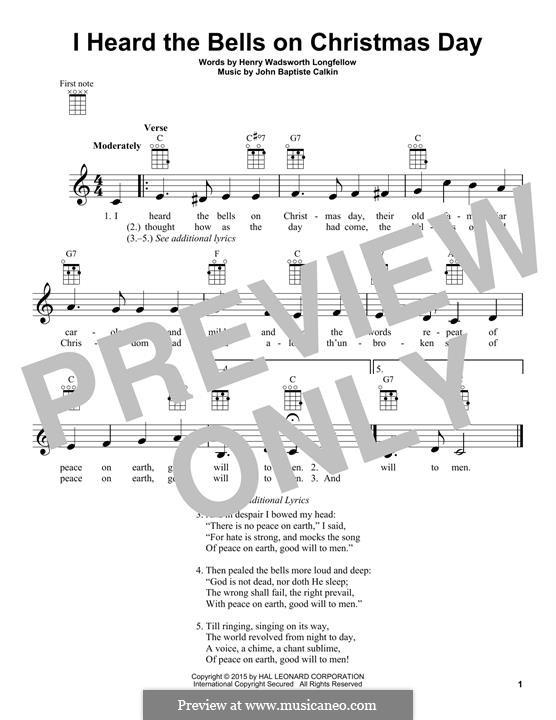 I Heard the Bells on Christmas Day: For ukulele by John Baptiste Calkin