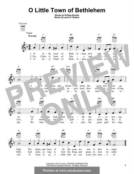 O Little Town of Bethlehem: For ukulele by Lewis Henry Redner