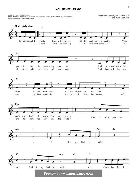 You Never Let Go: Melody line by Matt Redman, Beth Redman