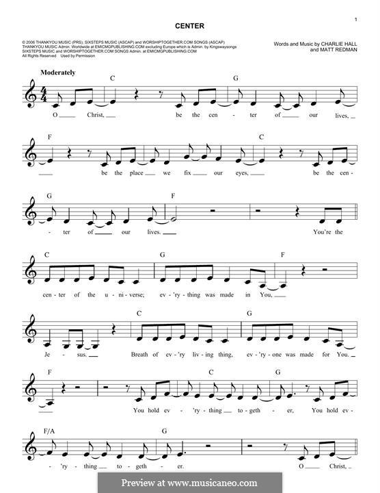 Center: Melody line by Matt Redman