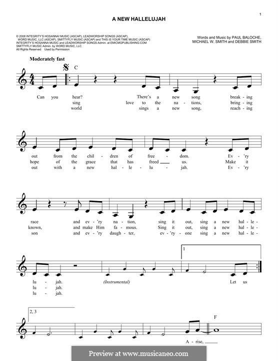 A New Hallelujah: Melody line by Michael W. Smith, Paul Baloche, Deborah D. Smith
