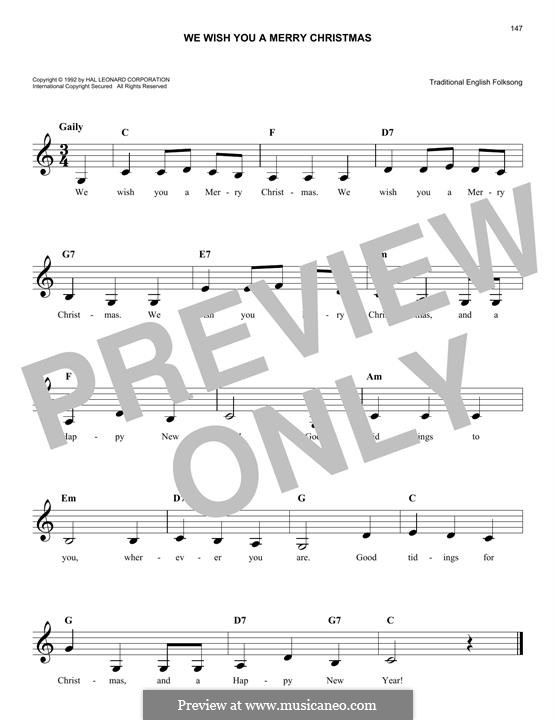 We Wish You a Merry Christmas (Printable Scores): Melody line by folklore