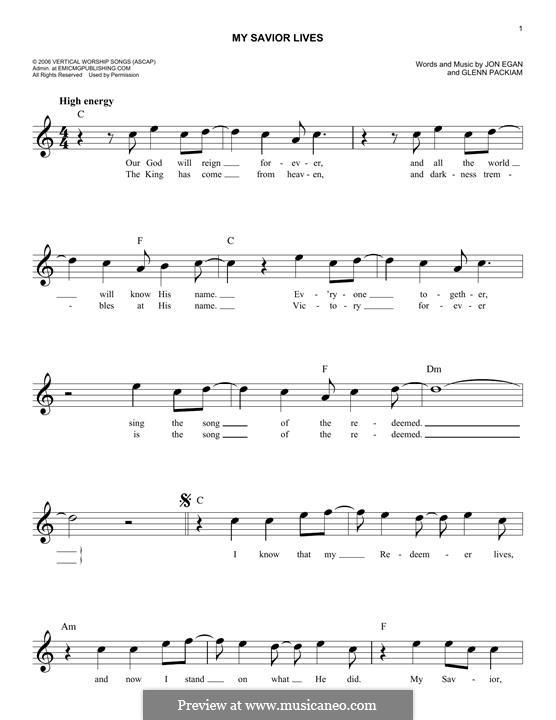 My Savior Lives (Desperation Band): Melody line by Glenn Packiam, Jon Egan