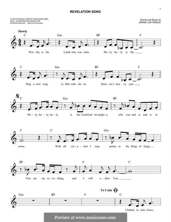 Revelation Song (Passion): Melody line by Jennie Lee Riddle