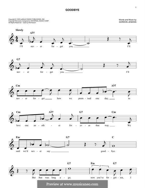 Goodbye (Bill Evans): Melody line by Gordon Jenkins