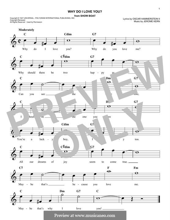Why do I Love You?: Melody line by Jerome Kern