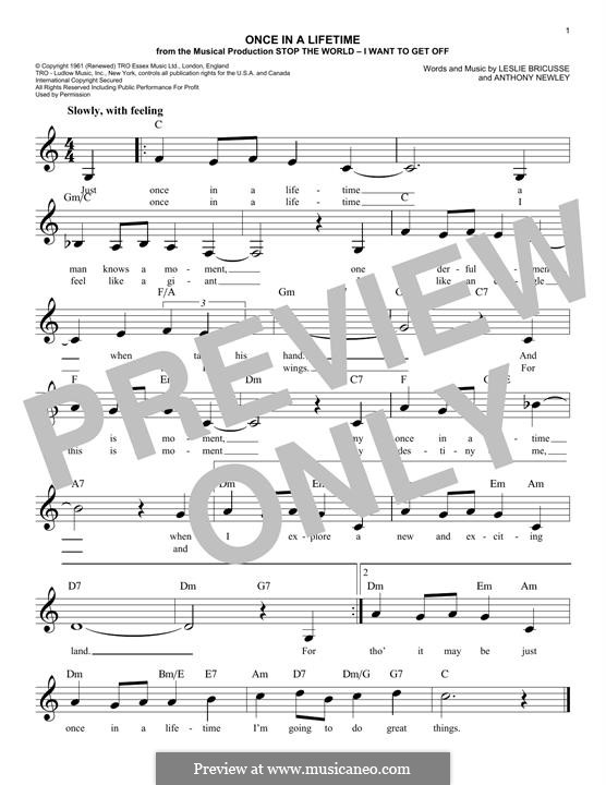 Once in a Lifetime (from the musical Stop the World - I Want to Get Off): Melody line by Anthony Newley
