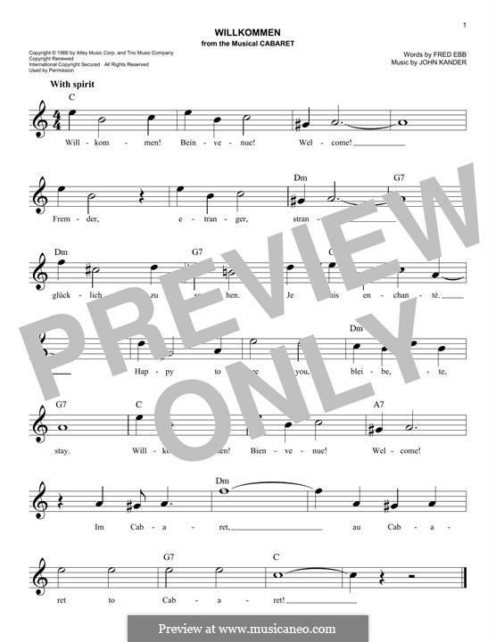 Willkommen (from Cabaret): Melody line by John Kander