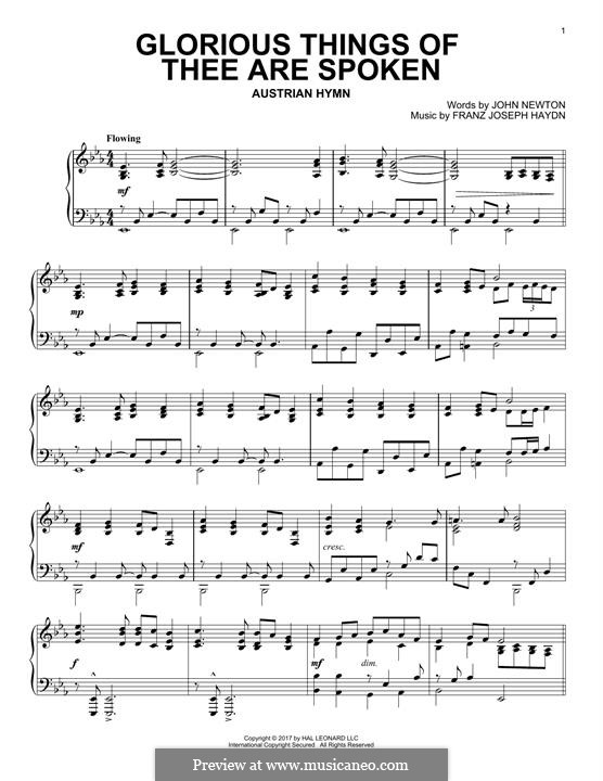 Glorious Things of Thee are Spoken: For piano by Joseph Haydn