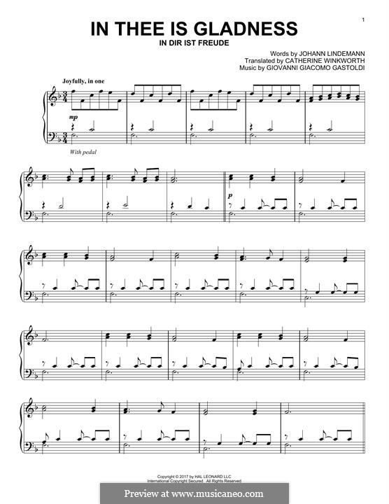 In Thee is Gladness: For piano by Giovanni Giacomo Gastoldi