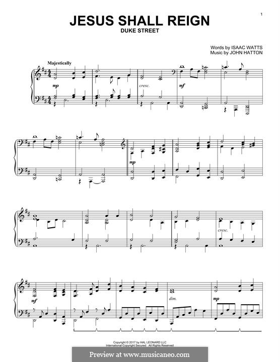 Jesus Shall Reign (Where'er The Sun): For piano by John Liptrot Hatton