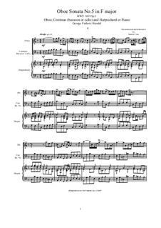 Sonata for Flute and Harpsichord in G Major, HWV 363b Op.1 No.5: Score, solo parts by Georg Friedrich Händel