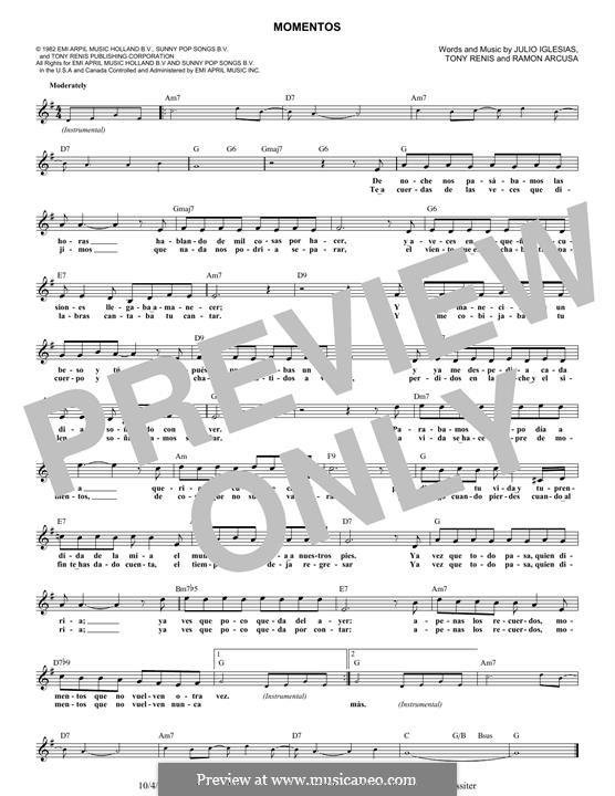 Momentos (Andrea Bocelli): Melody line by Ramon Arcusa, Tony Renis