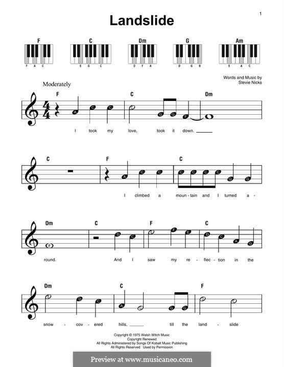 Landslide (Fleetwood Mac): For piano by Stevie Nicks