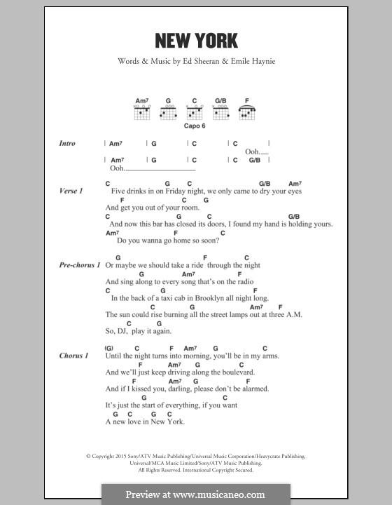 New York: Lyrics and chords by Ed Sheeran, Emile Haynie