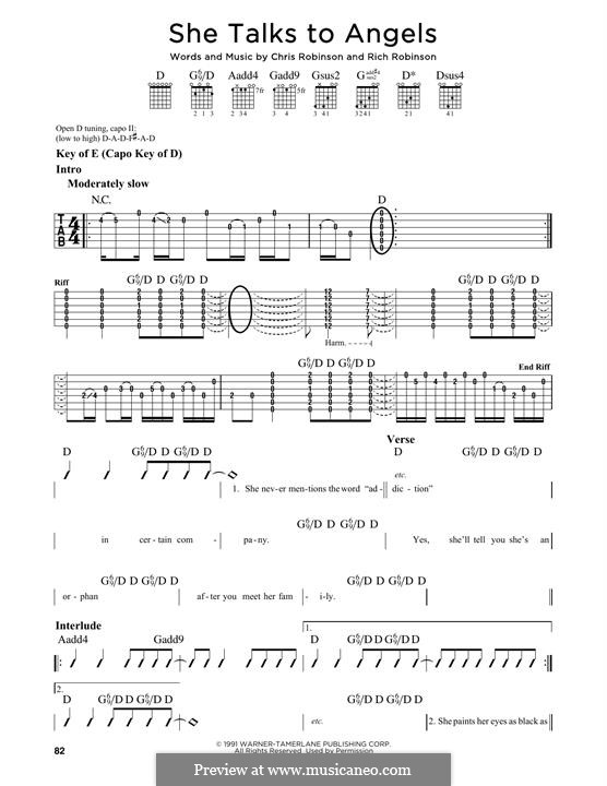 She Talks to Angels (Black Crowes): For guitar with tab by Chris Robinson, Rich Robinson