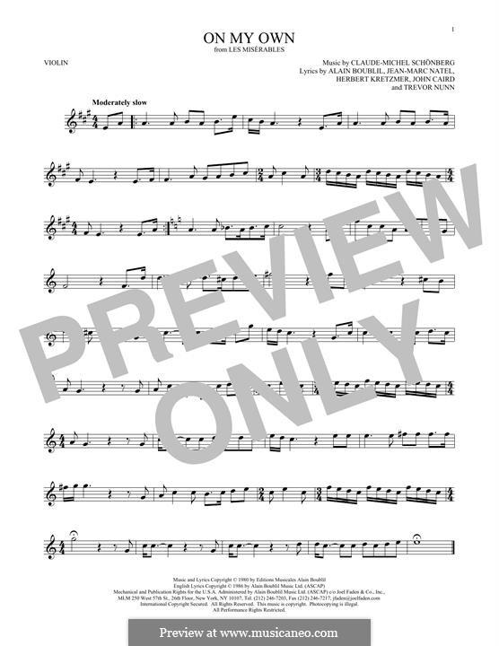On My Own: For violin by Claude-Michel Schönberg