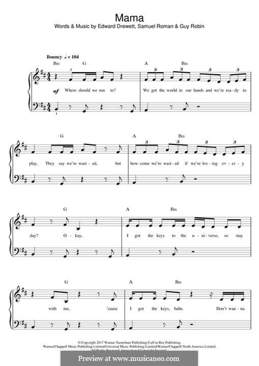 Mama (Jonas Blue feat. William Singe): For piano by Ed Drewett, Sam Romans, Guy Robin