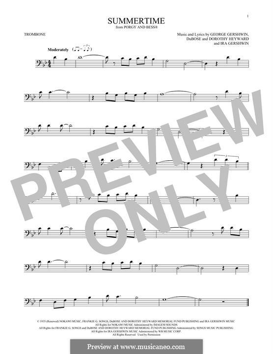 Summertime: For trombone by George Gershwin