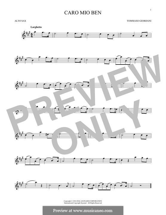 Caro mio ben (O Maiden Dear): For alto saxophone by Tommaso Giordani