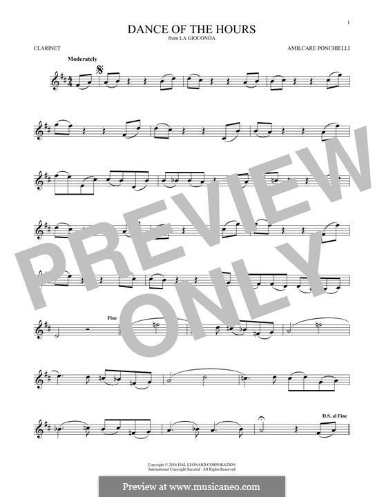 La Gioconda: Dance of the Hours. Version for clarinet by Amilcare Ponchielli