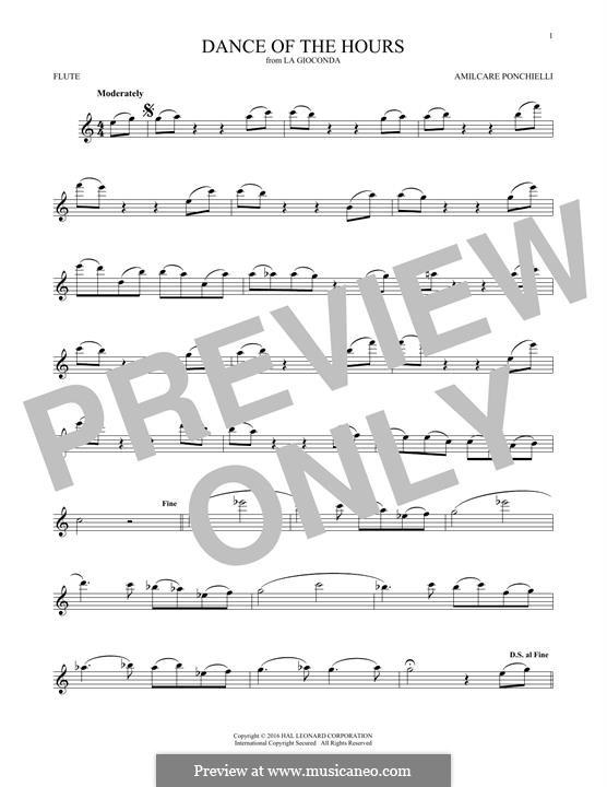 La Gioconda: Dance of the Hours. Version for flute by Amilcare Ponchielli