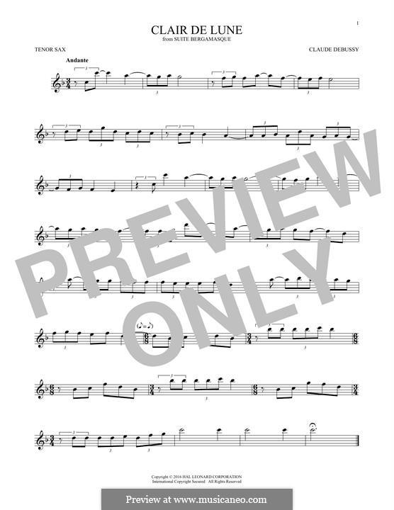 No.3 Clair de lune: For tenor saxophone by Claude Debussy