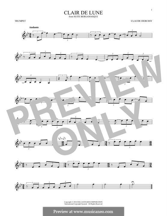 No.3 Clair de lune: For trumpet by Claude Debussy