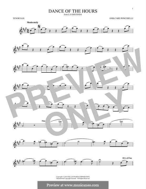 La Gioconda: Dance of the Hours. Version for tenor saxophone by Amilcare Ponchielli