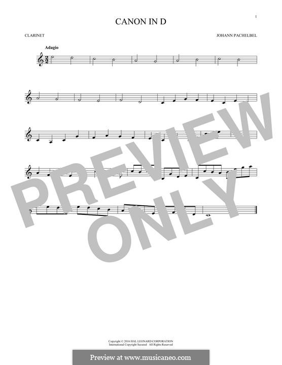Canon in D Major (Printable): For clarinet by Johann Pachelbel