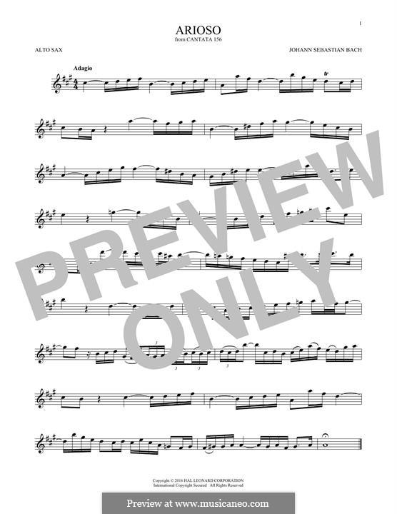 Arioso in G Major: For alto saxophone by Johann Sebastian Bach