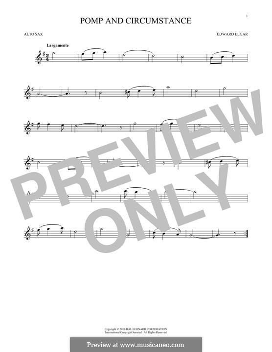 Pomp and Circumstance: For alto saxophone by Edward Elgar