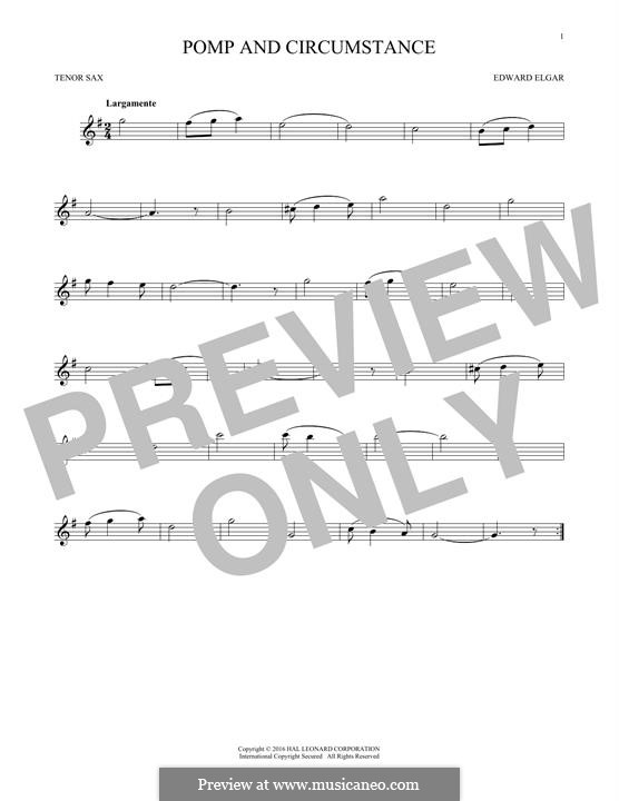 Pomp and Circumstance: For tenor saxophone by Edward Elgar