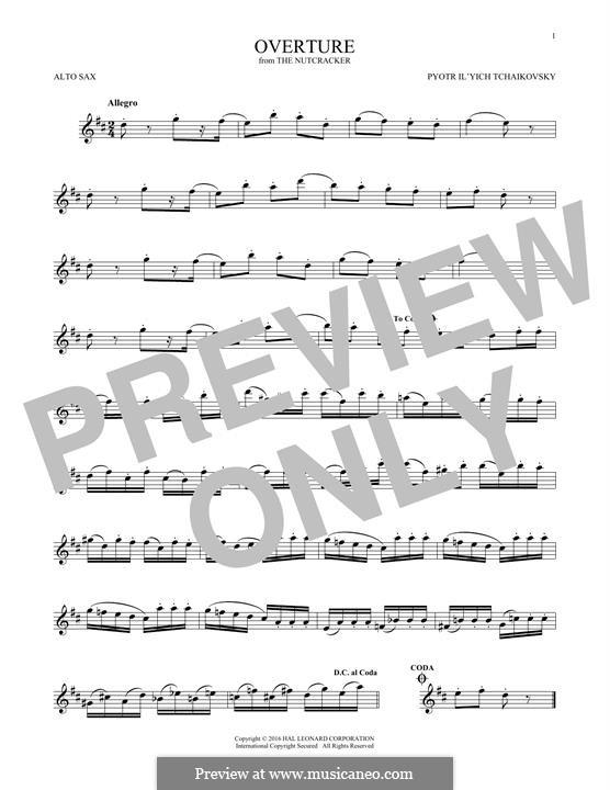 No.1 Miniature Overture : For alto saxophone by Pyotr Tchaikovsky