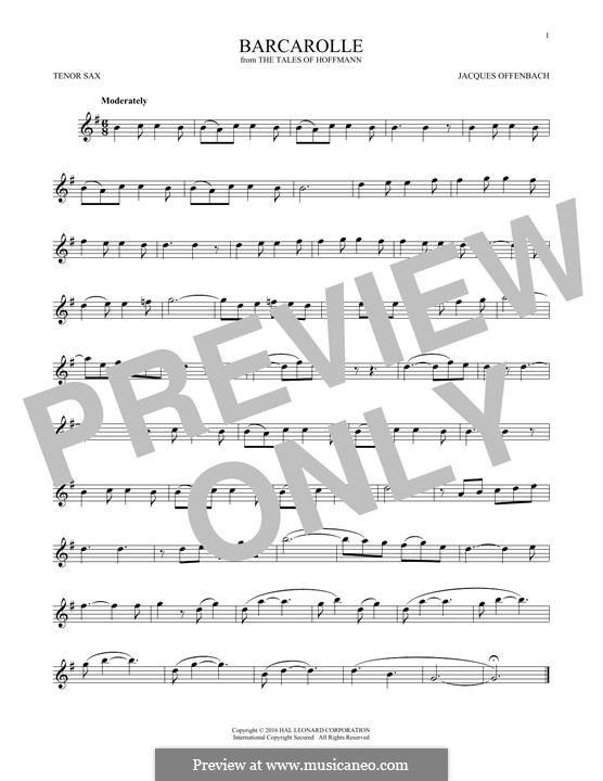 Barcarole: Version for tenor saxophone by Jacques Offenbach