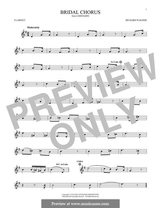 Bridal Chorus: For clarinet by Richard Wagner