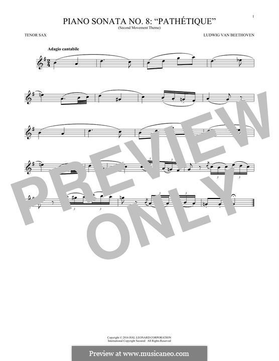 Movement II: Theme. Version for tenor saxophone by Ludwig van Beethoven