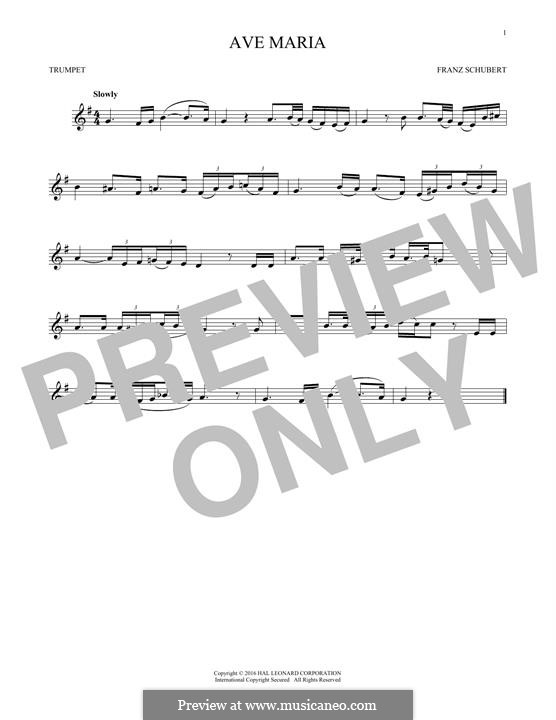 Ave Maria (Printable Scores), D.839 Op.52 No.6: For trumpet by Franz Schubert