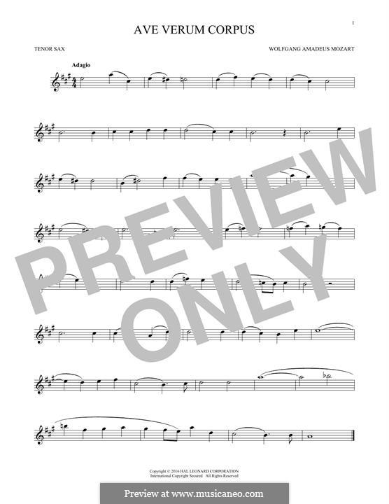 Ave verum corpus (Printabel Scores), K.618: For tenor saxophone by Wolfgang Amadeus Mozart