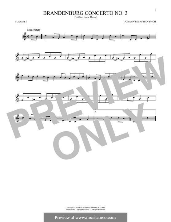 Brandenburg Concerto No.3 in G Major, BWV 1048: Movement I (Theme). Version for clarinet by Johann Sebastian Bach